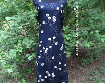 Vintage Boho DRESS, DAISY Print Rayon MAXI, Sleeveless, Navy Dark Blue, cream flowers, vintage 90s grunge bohemian, hippie chic festival, Lg
