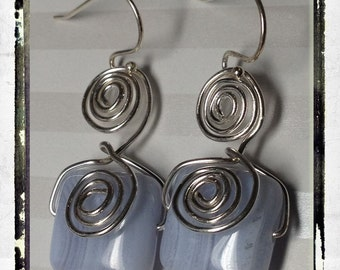 Sterling Swirls on Blue Lace Agate and Sterling Silver Earrings--Free US Shipping