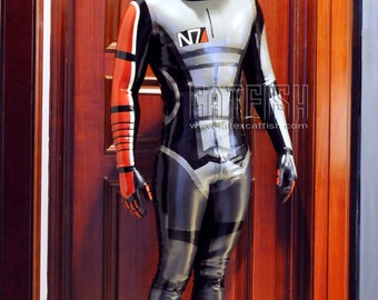 Mass Effect Latex Catsuit/ Shepard Commander Suit  /  Sexy Cool&Tight Man Latex Clothing,Latex Catsuit