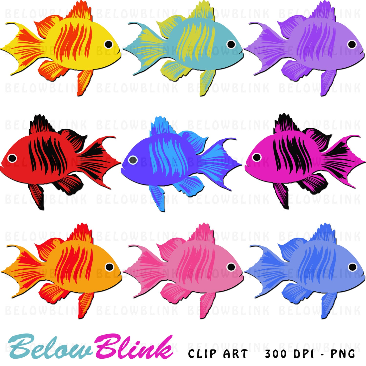 cute colorful fish clipart clip art digital scrapbooking rh etsy com cute starfish clipart cute jellyfish clipart
