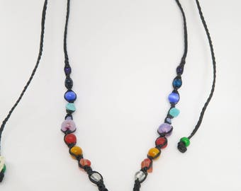 Rainbow Chakra Necklace // Teardrop Glass Pendant // Crystal Beads // Beaded Necklace