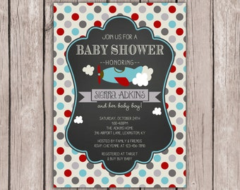 PRINTABLE- Airplane Baby Shower Invite- Airplane Birthday Invite- Baby Shower Invite- 5x7 JPG
