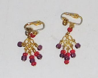 Clip On Earrings, Red Bead Earrings, Purple Bead Earrings, Gold tone, Heart Charm, Dangle, Drop, Never Worn, Gypsy, Boho, Bohemian Vintage