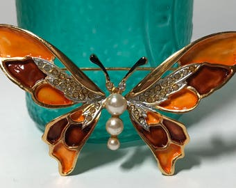 Vintage Kramer orange and brown butterfly pin