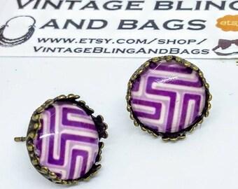 Purple geometric earrings, purple earrings, purple stud earrings, studs earrings, purple cabochon earrings, studs, studs earrings, stud  #6