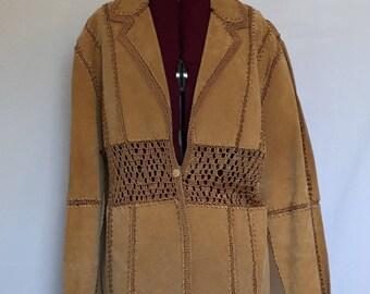 Vintage Suede and Crochet Boho Jacket Ladies Size M
