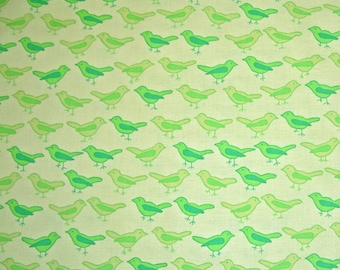 STORE CLOSING SALE - Valorie Wells, Nest, Birds, Lime Green, Free Spirit, 100% Cotton Quilt Fabric, Green, Quilting Fabric
