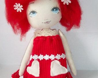 cloth doll, art doll, nursery gift,collectible,girl gift, home decor