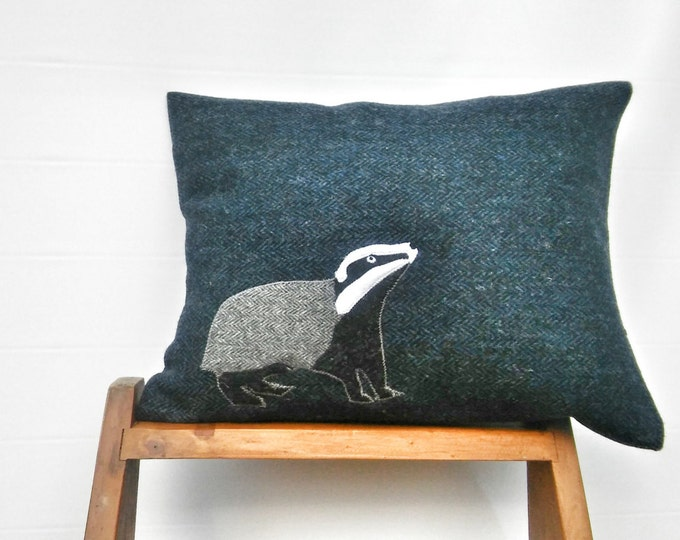 Hand Crafted Badger Harris Tweed Cushion Cover