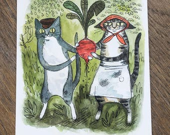 Turnip Cats Postcard
