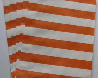 "Set of 20 Orange and White Horizontal Stripe Design Middy Bitty Bags (5"" x 7.5"")"
