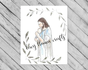 Baby & Jesus Watercolor Print