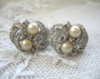 Vintage Art Deco Earrings ~ Clip On ~ Pearl & Rhinestone ~ Richelieu
