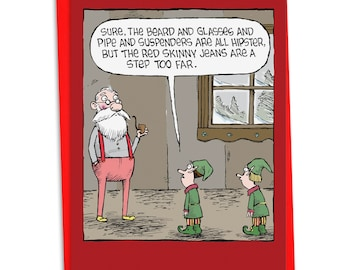 C4334XSG Hipster Santa: Funny Christmas Card, with Envelope.