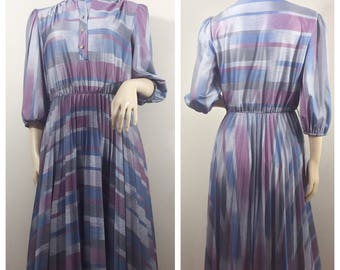 Gray, Purple and Blue Striped Dress // 80s Dress
