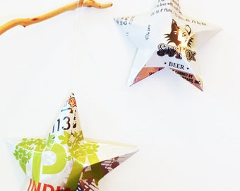 113 India Pale Ale Beer Stars, Christmas Ornaments, Upcycled Aluminum Can, Recycled, Sly Fox Brewing