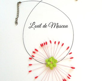 amazing pink and Green Flower necklace