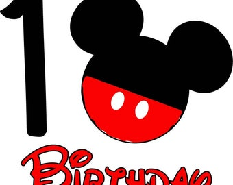 Mickey Mouse Birthday Shirt (Age 1)