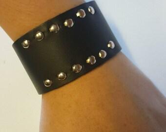 Studded Leather Snap Bracelet