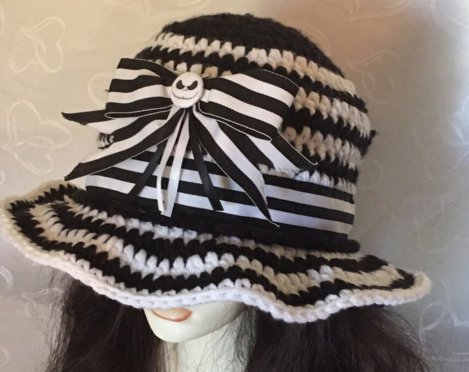 Skellington Sunhats-Black and white crocheted hat-Womens warm hats-Cowboy Hats-Halloween Costumes-Nightmare Before Christmas -Mens Hats- Bow