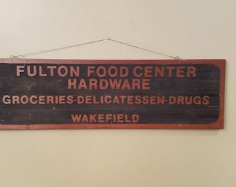 Wooden Fulton Food Center Sign
