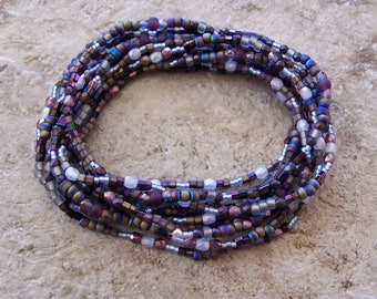 Set of 2 Iris & Light Purple Mix Dainty 5 Wrap Stretch Stacker Bracelets and/or Necklaces ~ Glass Seed Beads ~ Czech Fire Polished