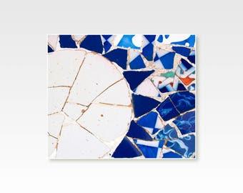 Moon wall art, Rustic wall decor, blue wall Decor, mosaic tiles, bathroom decor