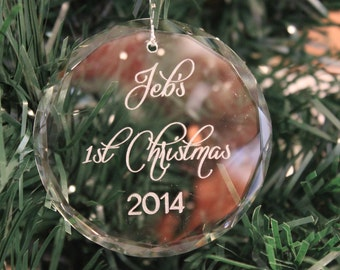 Premier Round Crystal Christmas Ornament, 1st  Christmas, Engraved Christmas Ornament