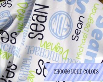 Personalized Baby Blanket for Newborns - Custom Receiving Blanket - Monogram Baby Name Blanket - Personalize Fleece Crib Blanket