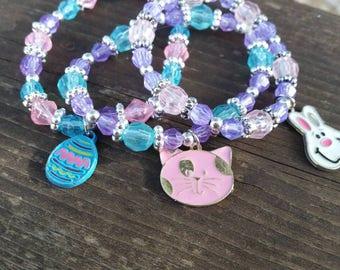 Spring Charm Bracelets - Set of 3 - Pink, Purple, Blue - Egg, Cat, Bunny