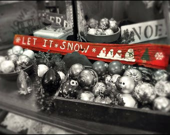 winter photography print,Let it snow picture is of antique ornaments and wooden sign