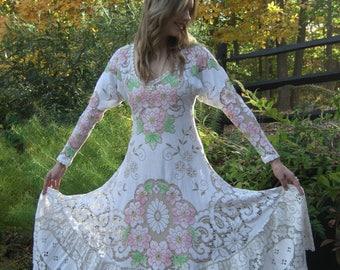 Upcycled Art To Wear Vintage Lace Hippie Wedding Bridal Floral One Of A Kind Full Sweep Maxi Dress XS