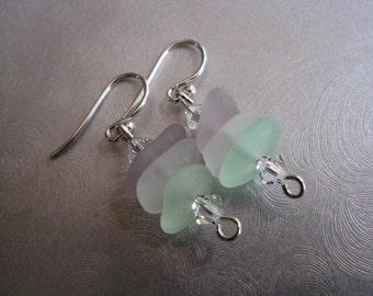 Genuine Sea Glass Jewelry -Pastel Stacked Sea Glass Earrings - Amethyst, White, Seafoam Sea Glass Dangle Earrings -Mermaid Tears Ocean Gifts