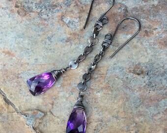MOSS AMETHYST earrings, Amethyst earrings sterling silver, minimal jewelry, February birthstone, handmade earrings, handmade jewelry