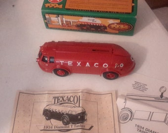 Texaco ertl 1934 doodle bug diamond t tanker diecast bank mib 1994