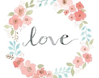 Love Wreath | Watercolor | Lettering