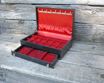 Vintage MELE Jewelry Box, Black and red Jewelry box