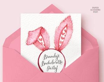 Bunny Ears Bachelorette Invitation, Bachelorette Weekend Invitation, Invite Itinerary, Hens Party Invitation, Girls Weekend Digital Download