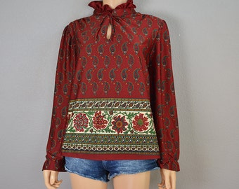 70s Paisley Blouse Red Boho Top With Ruffle and Tied Collar Long Sleeve Casual Top 70s Clothing Epsteam