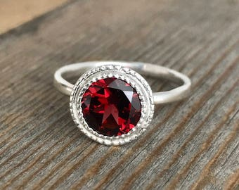 Garnet Ring Sterling Silver Ring, Red Garnet with Milgrain  Halo Ring in Eco Silver, Ready to Ship Size 8