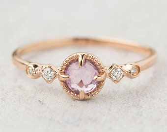 14k rose gold natural unheated purple lavender sapphire diamond unique engagement ring, alternative engagement ring, sapphire ring