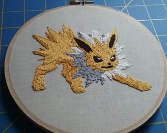 Jolteon Pokemon Hand Embroidered 6 Inch Hangable Hoop Art