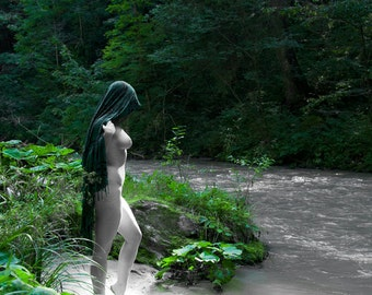 Nude in nature female in the forest on the river Black and White and Green fine ART photography print - Green Priestess 5