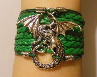Dragon bracelet, dragon jewelry, leather dragon bracelet, leather dragon jewelry, fashion bracelet, fashion jewelry, dragon charm bracelet