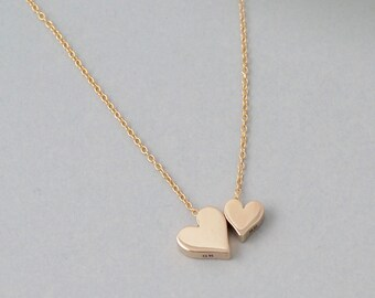 Double Heart Necklace, 14k gold fill, personalized Mother daughter necklace