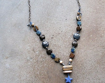 On Sale 30% off, Horse Pendant beaded neckalce, blue and brown gemstone necklace, cowgirl jewelry, Horse jewelry,  Horse lover gift idea