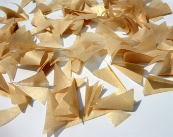 PUFFetti GOLD SHIMMER Triangle Scrap Handmade Recycled CONFETTI 50th Birthday (1) Favor Bag Wedding Prom Graduation Bat Mitzvah Sweet 16 15