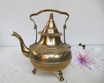 Vintage Etched Brass Teapot, Decorative Brass Teapot, Brass Home Decor, Footed Teapot, Gifts under 50