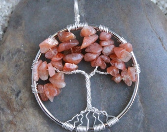 Sunstone Tree of Life Wire Wrapped Pendant