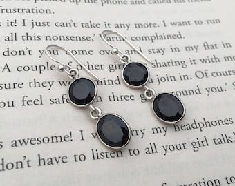 Black Onyx Handmade Sterling Silver Earrings - Sterling Silver Black Onyx Earrings - Handmade Sterling Silver Earrings